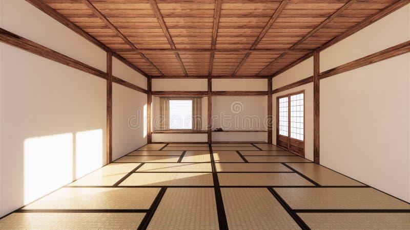 Binnenlands ontwerp, moderne woonkamer met tatamimat en traditionele Japanse deur op beste venstermening het 3d teruggeven royalty-vrije illustratie