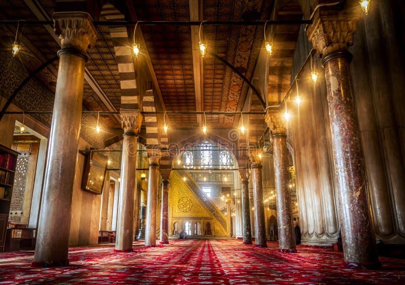 Binnenlands ontwerp van de Blauwe Moskee in Istanboel, Turkije stock foto's