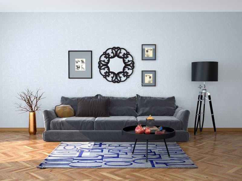 Binnenlands ontwerp van de woonkamer met een grijze bank stock fotografie