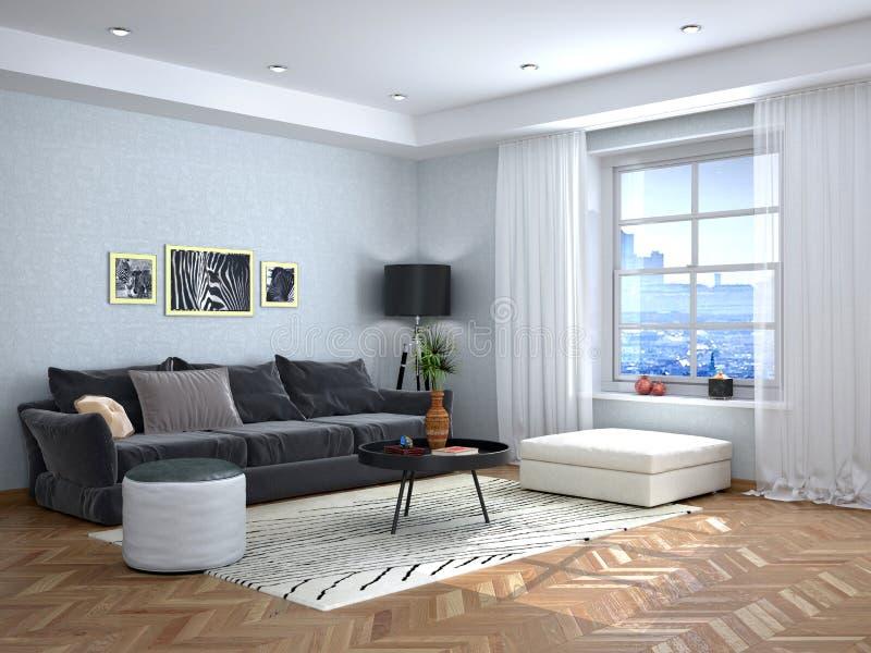 Binnenlands ontwerp van de woonkamer met een grijze bank stock illustratie