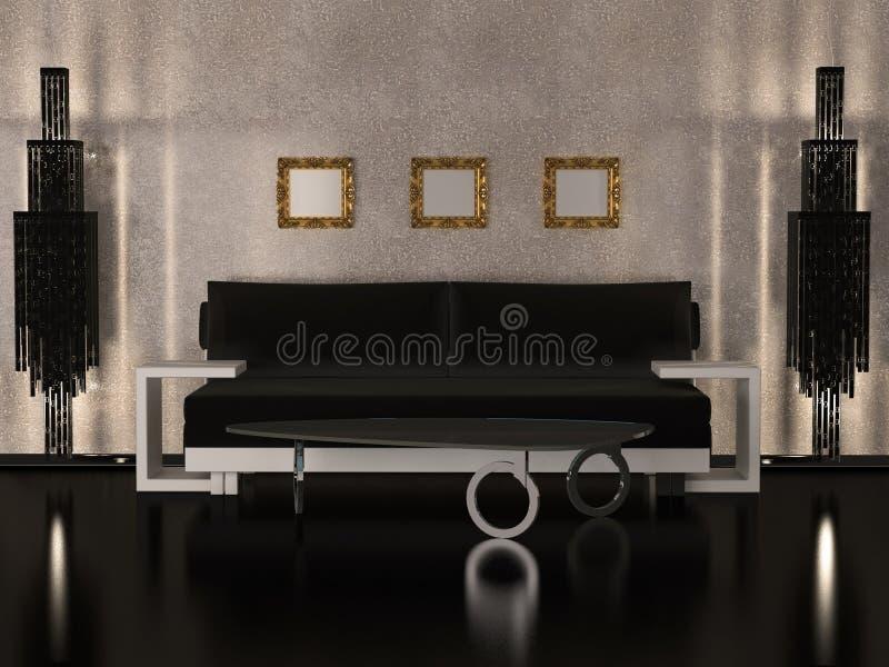 Binnenlands ontwerp van de woonkamer van de Luxe royalty-vrije illustratie