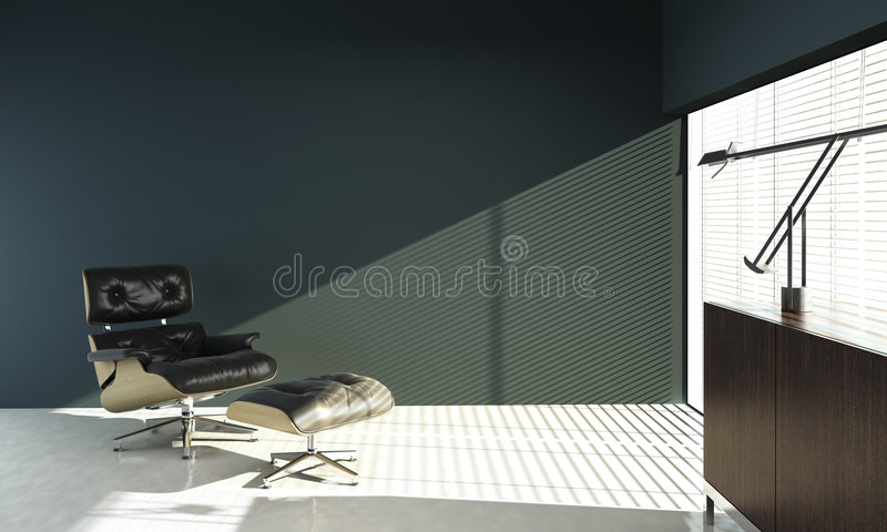 Binnenlands ontwerp van eamesstoel op blauwe muur royalty-vrije illustratie