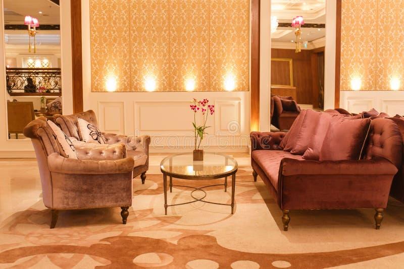 Binnenlands ontwerp van een luxewoonkamer royalty-vrije stock foto's