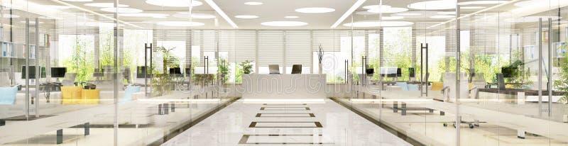 Binnenlands ontwerp van groot ruim bureau stock afbeelding