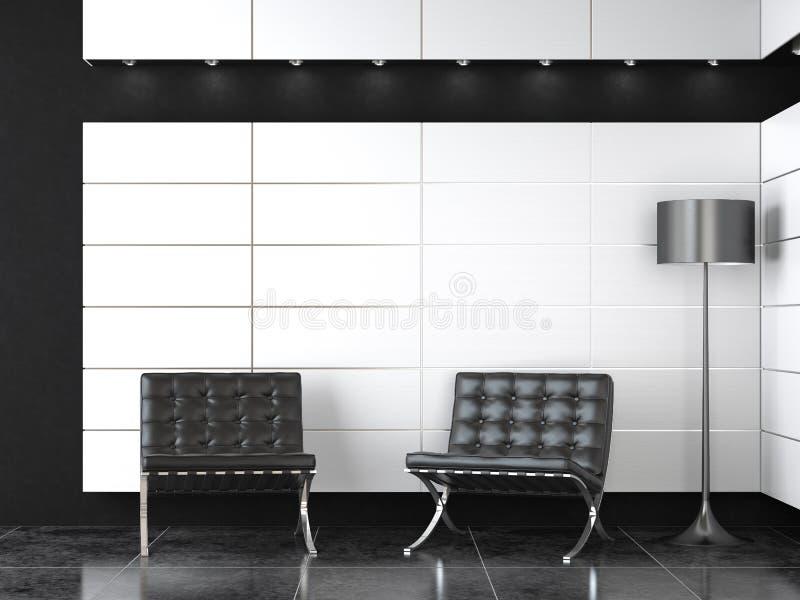 Binnenlands ontwerp van moderne ontvangst b&w royalty-vrije illustratie