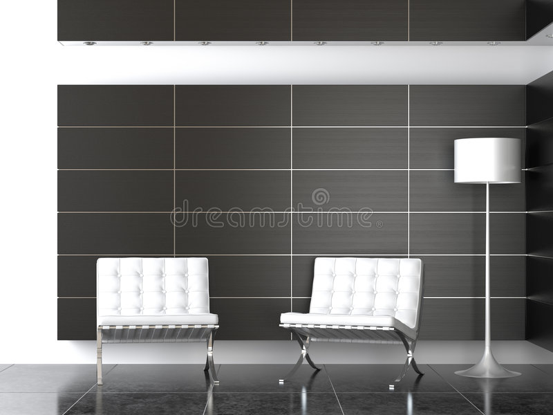Binnenlands ontwerp van moderne ontvangst B&W stock foto's