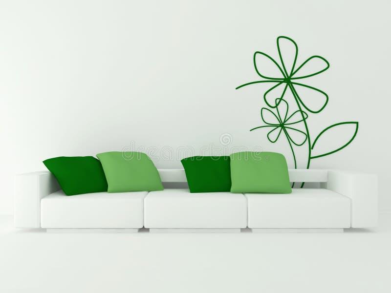 Binnenlands ontwerp van moderne witte woonkamer stock illustratie