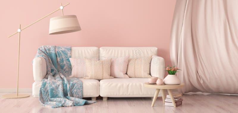 Binnenlands ontwerp van moderne woonkamer met bank en gordijn, koffietafel met tulpen, het 3d teruggeven vector illustratie