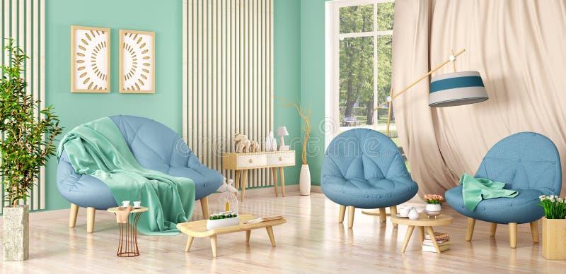 Binnenlands ontwerp van moderne woonkamer met bank en twee leunstoelen, installaties, het 3d teruggeven royalty-vrije illustratie