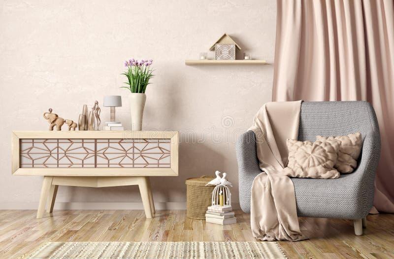 Binnenlands ontwerp van moderne woonkamer met leunstoel en kabinet, 3d renderin stock illustratie
