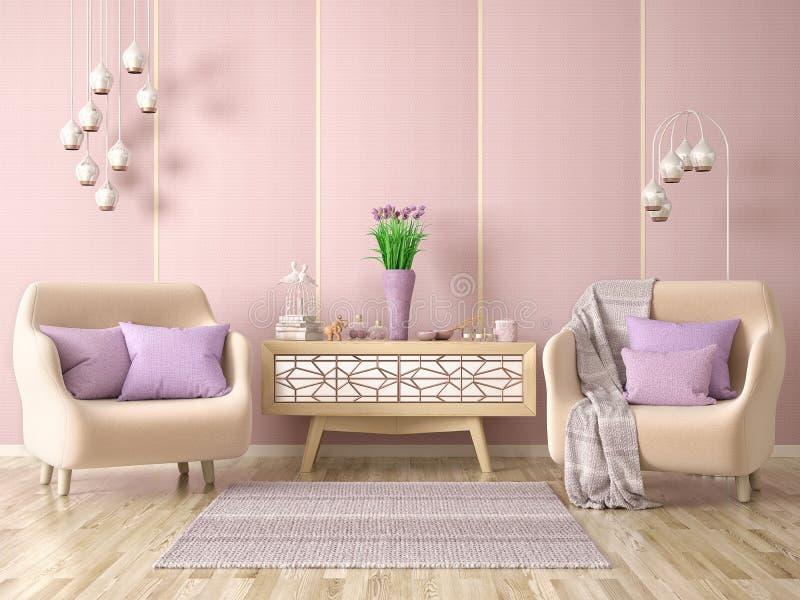 Binnenlands ontwerp van moderne woonkamer met twee leunstoelen, kabinet met decor, 3d renderin stock illustratie