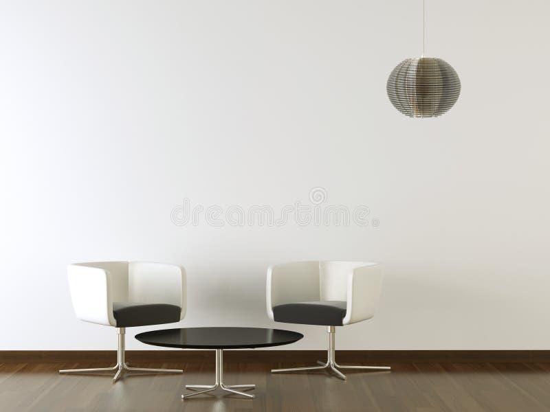 Binnenlands ontwerp zwart meubilair op witte muur royalty-vrije illustratie