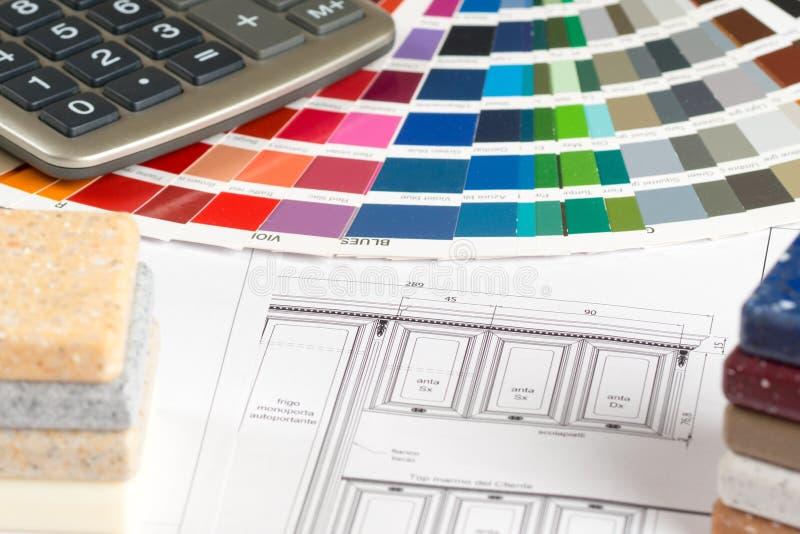 Binnenlands ontwerpconcept, de kleurengids van de keukenschets royalty-vrije stock foto's