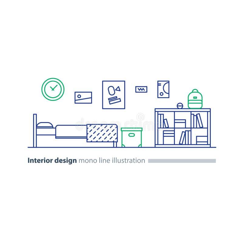 Binnenlands ontwerpidee, slaapkamermeubilair, regelingsplan, bed en boekenkast vector illustratie
