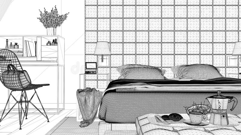 Binnenlands ontwerpproject, zwart-witte inktschets die, architectuurblauwdruk eigentijdse slaapkamer, zolderzolder tonen stock illustratie