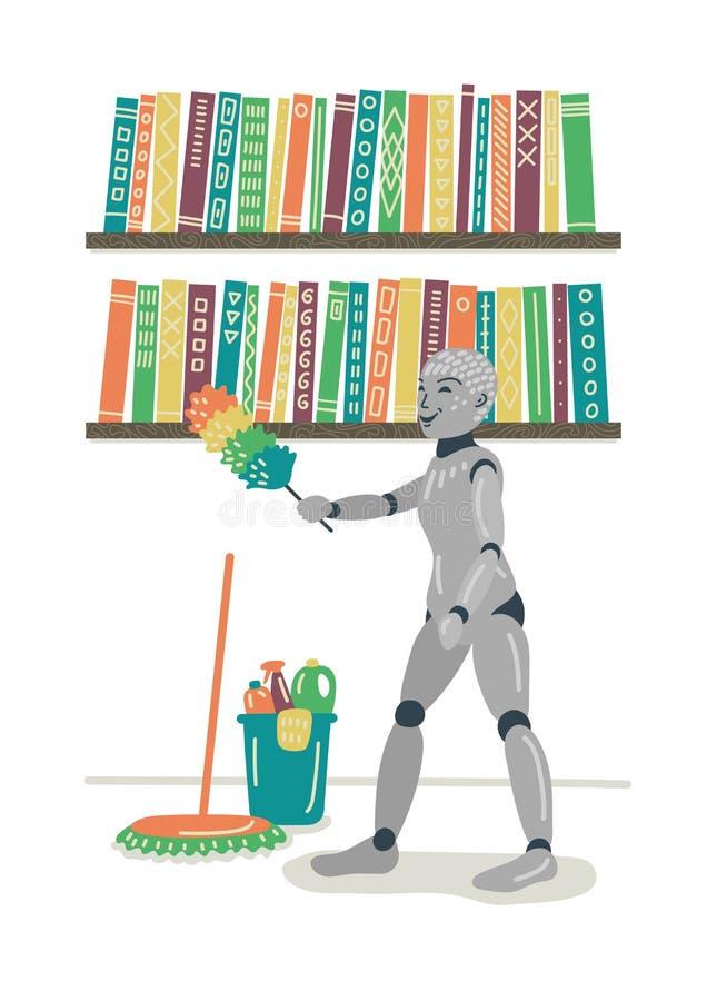 Binnenlands robot schoonmakend huis stock illustratie