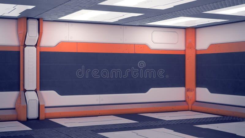 Binnenlands ruimtestation sc.i-FI Witte futuristische panelen met oranje accenten Ruimteschipgang met licht 3D Illustratie royalty-vrije illustratie