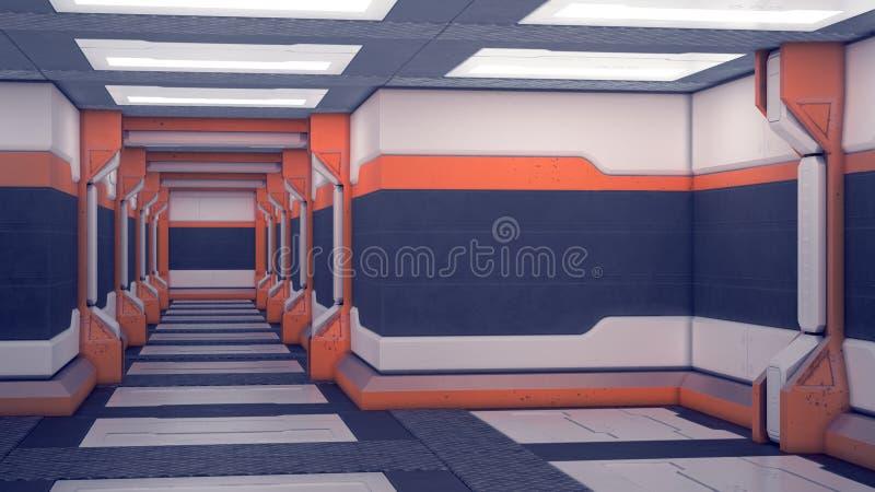 Binnenlands ruimtevaartuig sc.i-FI Witte futuristische panelen met oranje accenten Ruimteschipgang met licht 3D Illustratie royalty-vrije illustratie