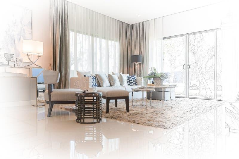 Binnenlands schetsontwerp van moderne woonkamer met moderne stoel a stock fotografie