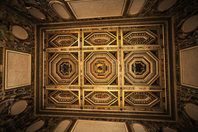 Binnenlands verfraaid plafond van ruimte in het historische huis royalty-vrije stock foto's