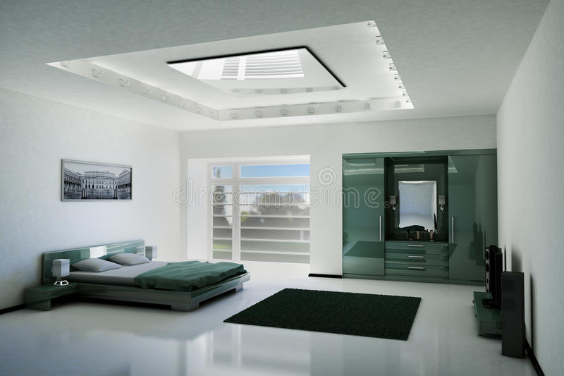 Binnenlandse 3d van de slaapkamer vector illustratie