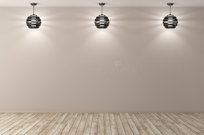 Binnenlandse achtergrond met drie lampen het 3d teruggeven royalty-vrije illustratie