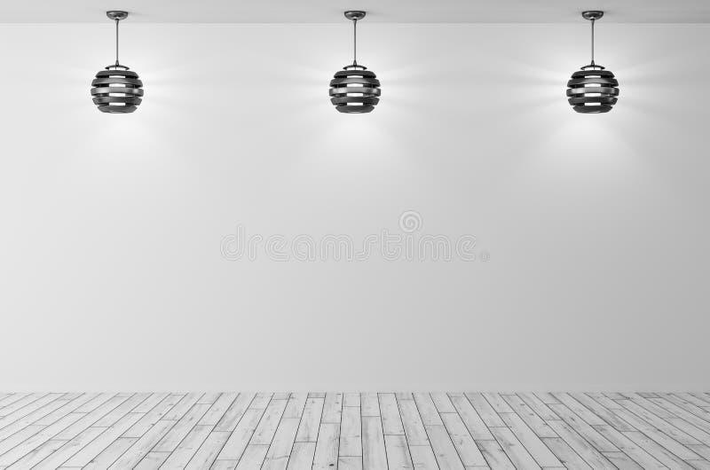 Binnenlandse achtergrond met drie lampen het 3d teruggeven stock illustratie