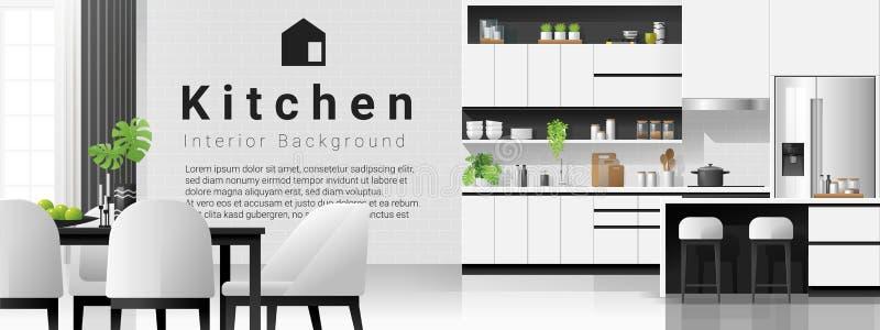 Moderne Witte Keuken Met Groene Achtergrond Vector Illustratie Illustratie Bestaande Uit Meubilair Lade 143015717