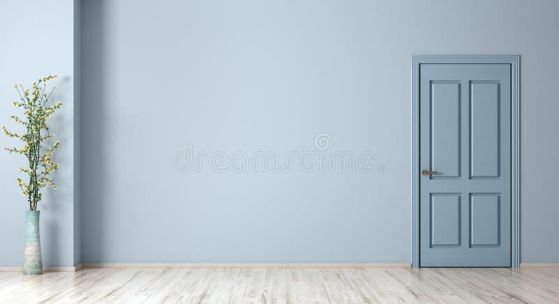 Binnenlandse achtergrond van ruimte met blauwe muur, deur en vaas met installatie het 3d teruggeven royalty-vrije illustratie