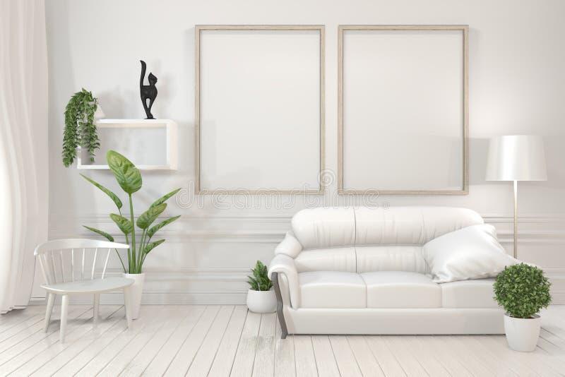 Binnenlandse affiche onechte omhoog houten kaders, bank, installatie en lamp in woonkamer met wit muur minimaal ontwerp het 3d te royalty-vrije illustratie
