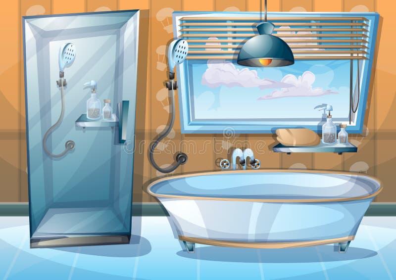 Binnenlandse badkamers van de beeldverhaal de vectorillustratie stock illustratie