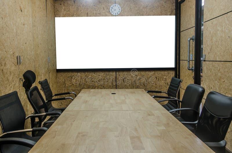 Binnenlandse conferentieruimte, lege vergaderzaal, bestuurskamer, Classro royalty-vrije stock foto