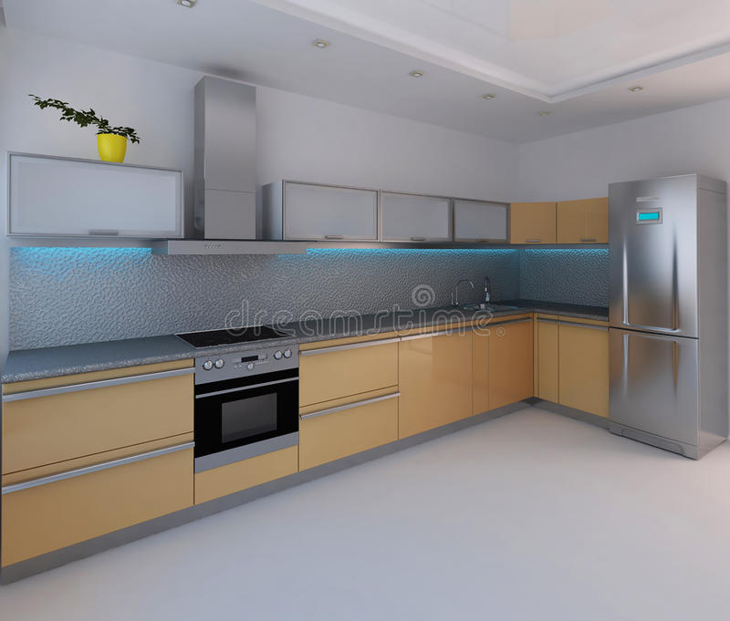 Binnenlandse 3d ontwerp van de keuken geeft het moderne for 3d ontwerp keuken