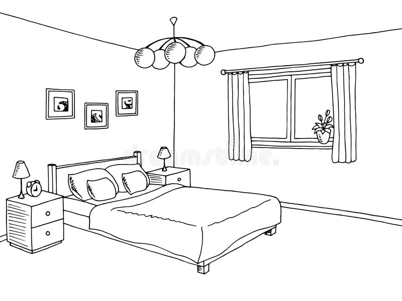Binnenlandse de schetsillustratie van de slaapkamer zwarte witte grafische kunst royalty-vrije illustratie