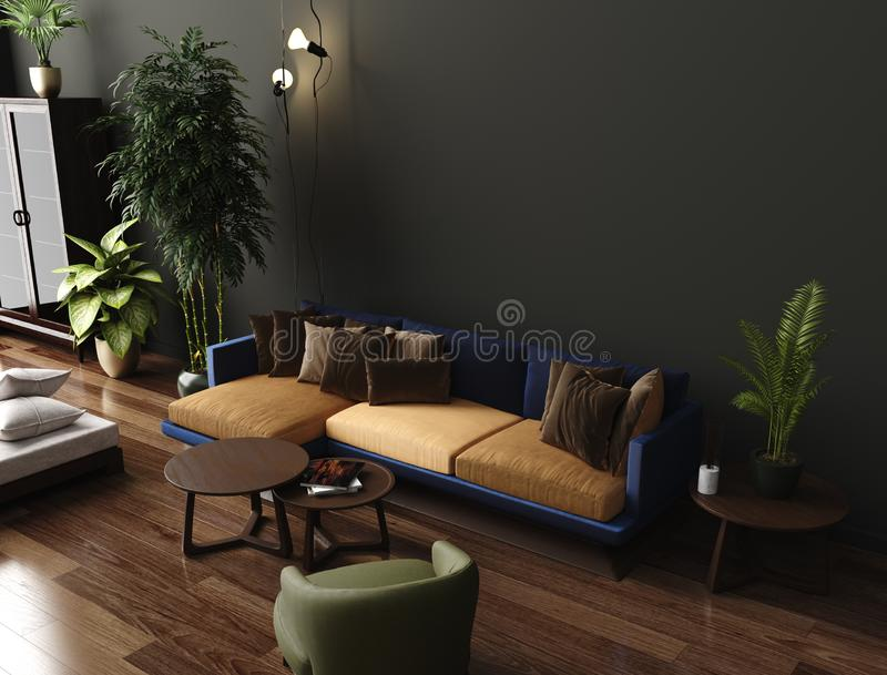 Binnenlandse, donkergroene bruine muur van de luxe de moderne woonkamer, moderne bank met leunstoel en installaties royalty-vrije illustratie