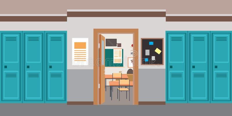 Binnenlandse en open deur van de beeldverhaal de lege School in klaslokaal vector illustratie