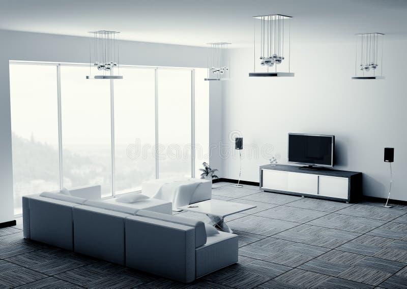 Binnenlandse geeft 3d van de woonkamer terug royalty-vrije illustratie