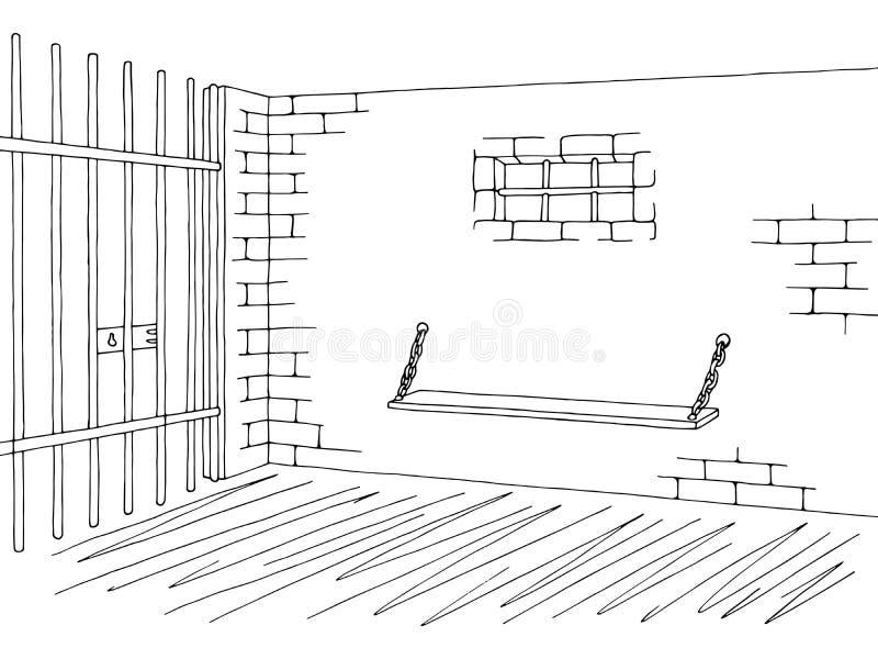 Binnenlandse grafische zwarte witte de schetsillustratie van de gevangenisgevangenis vector illustratie