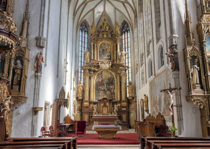 Binnenlandse Heilige Vitus Cathedral, Cesky Krumlov, Tsjechische Republiek stock foto