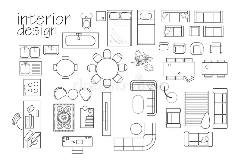 ` binnenlandse het plansymbolen van de ontwerpvloer hoogste meningsmeubilair cad symbool