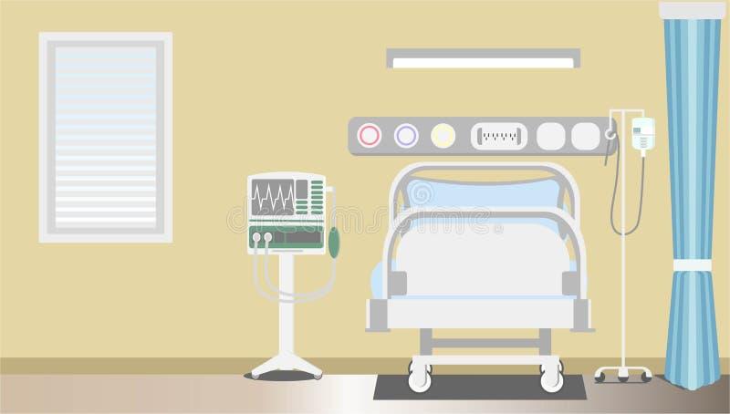 Binnenlandse intensieve therapie geduldige ruimte met exemplaar vlakke vectorillustrator royalty-vrije stock foto's