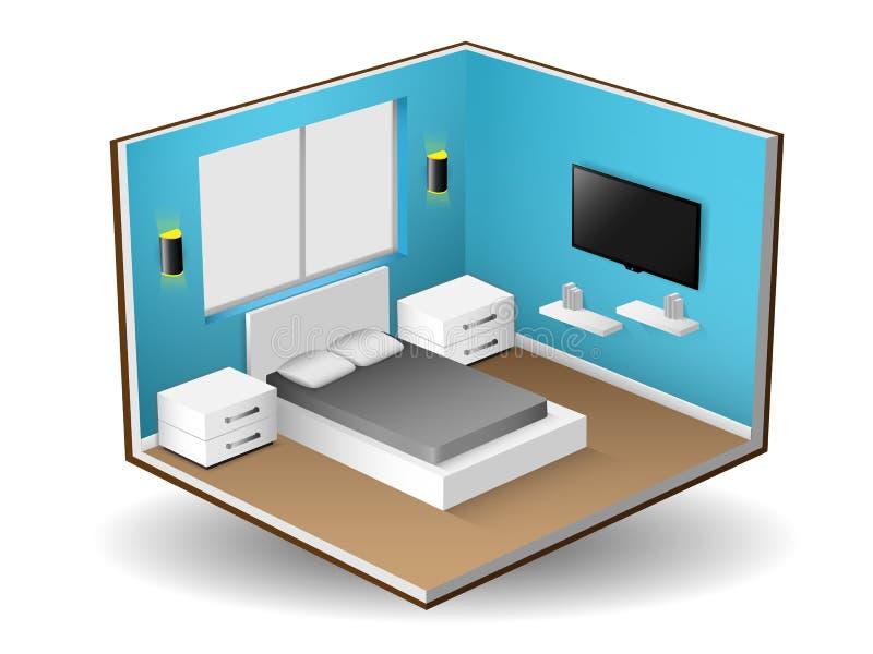 Binnenlandse isometrisch van modern slaapkamer binnenlands ontwerp, Vectorillustratie stock illustratie