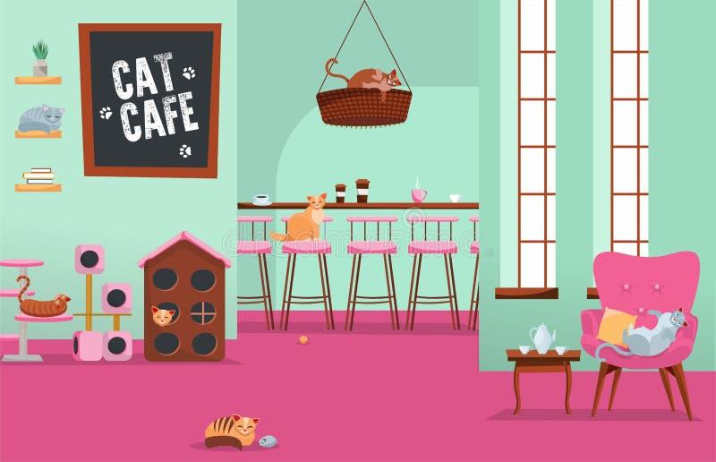 Binnenlandse kattenkoffie Comfortabele plaats met vele katten in leunstoelen en huizen met reeks toebehoren, Katachtig materiaal  stock illustratie