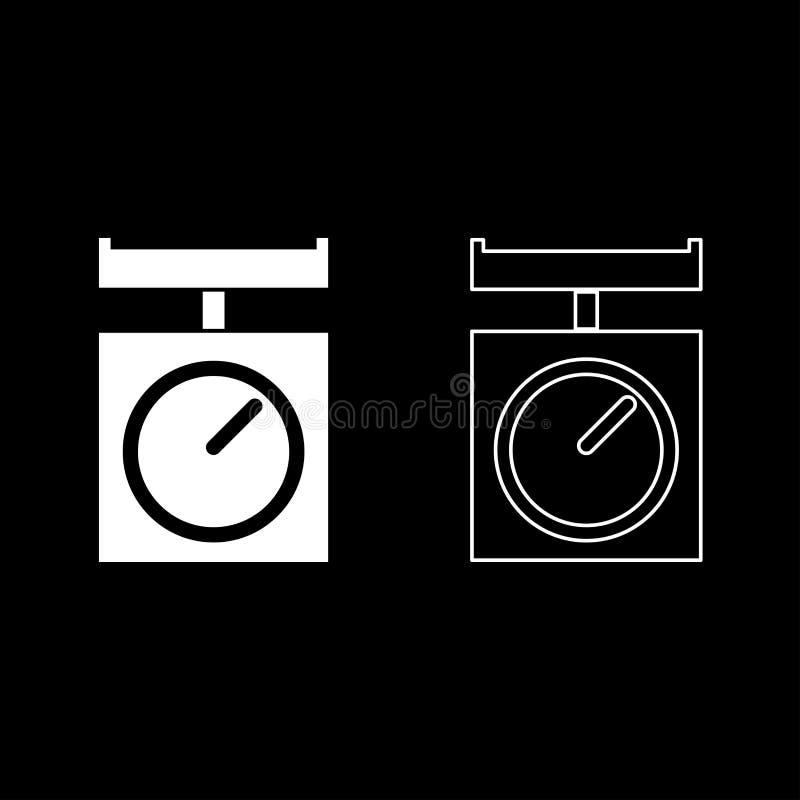 Binnenlandse keuken de schalen wegen schalenweegschaal met pan van het het pictogramoverzicht van Keukentoestellen vastgestelde w stock illustratie