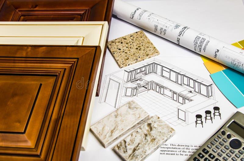 Binnenlandse keukenvernieuwing planning stock fotografie