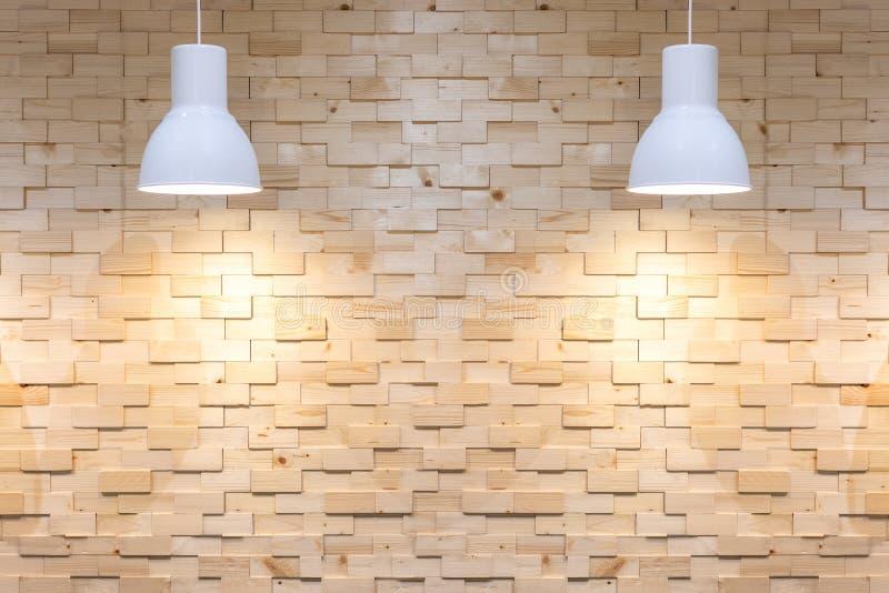 Binnenlandse lege houten muurachtergrond met lampen over stock illustratie