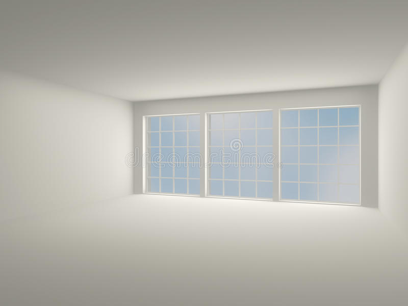 Binnenlandse lichte ruimte met grote vensters. 3D modern binnenland. royalty-vrije illustratie
