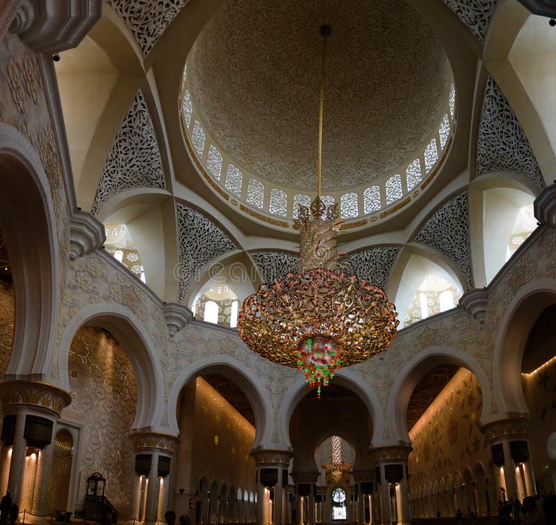 Binnenlandse mening aan Sheikh Zayed Mosque, Abu Dhabi, de V.A.E stock afbeeldingen