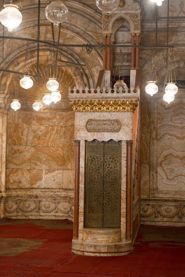 Binnenlandse mening van de Moskee van Muhammad Ali royalty-vrije stock afbeelding