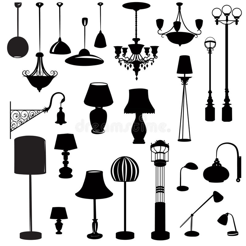 Binnenlandse meubilairpictogrammen De reeks van het het silhouetpictogram van de plafondlamp stock illustratie